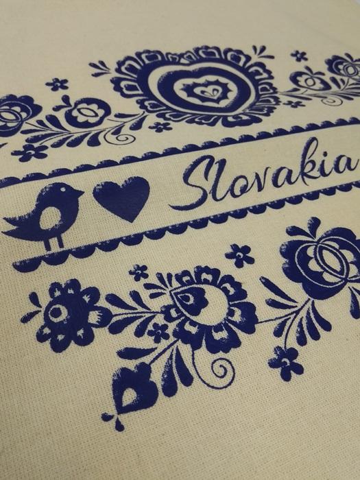 Plátená EKOlogická taška modrý ornament RETRO - dlhá rúčka Natural