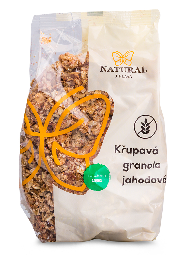 NATURAL JIHLAVA Chrumkavá granola jahodová 300g