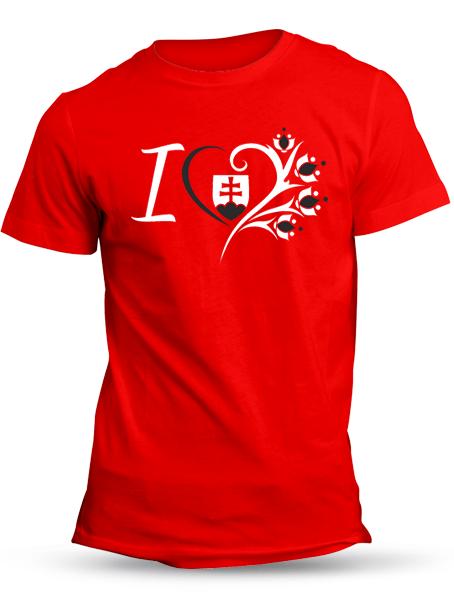Tričko ľúbim Slovensko Unisex Červené