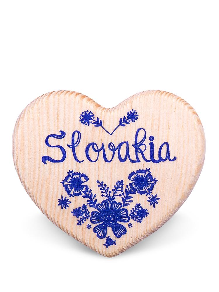 Drevená magnetka Slovakia kvety natural