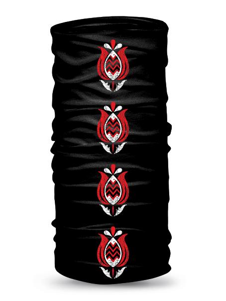 Folklórna multifunkčná šatka tulipán retro Čierna