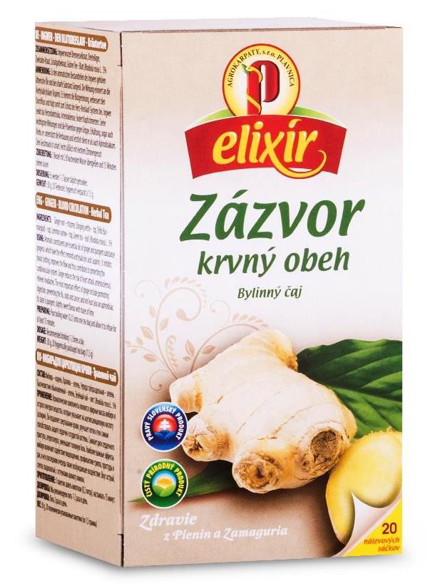 Agrokarpaty elixír zázvor na krvný obeh bylinný čaj 20x1,5g