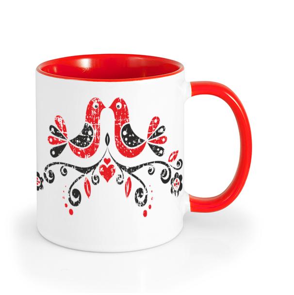 Ľudový hrnček ľudové vtáčiky retro Červený