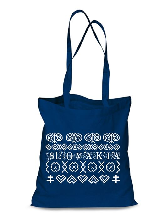Plátená EKOlogická taška Čičmany - dlhá rúčka Modrá