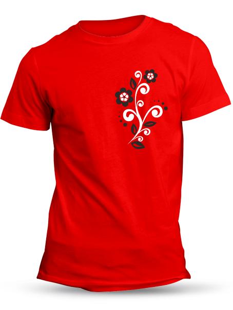 Tričko folklórny kvietok Unisex Červené