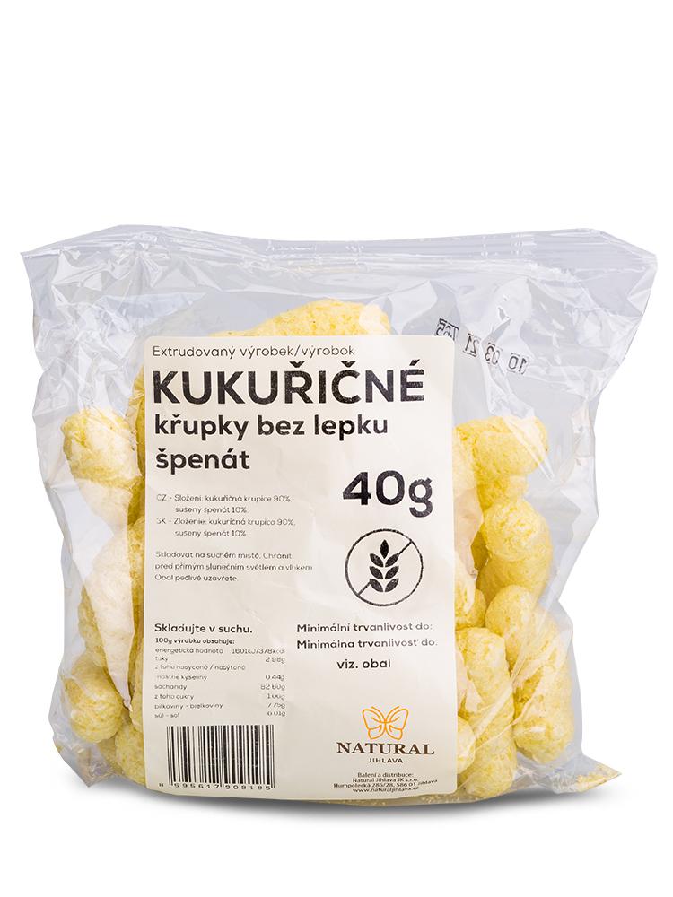 NATURAL JIHLAVA Kukuričné chrumky - špenát 40g