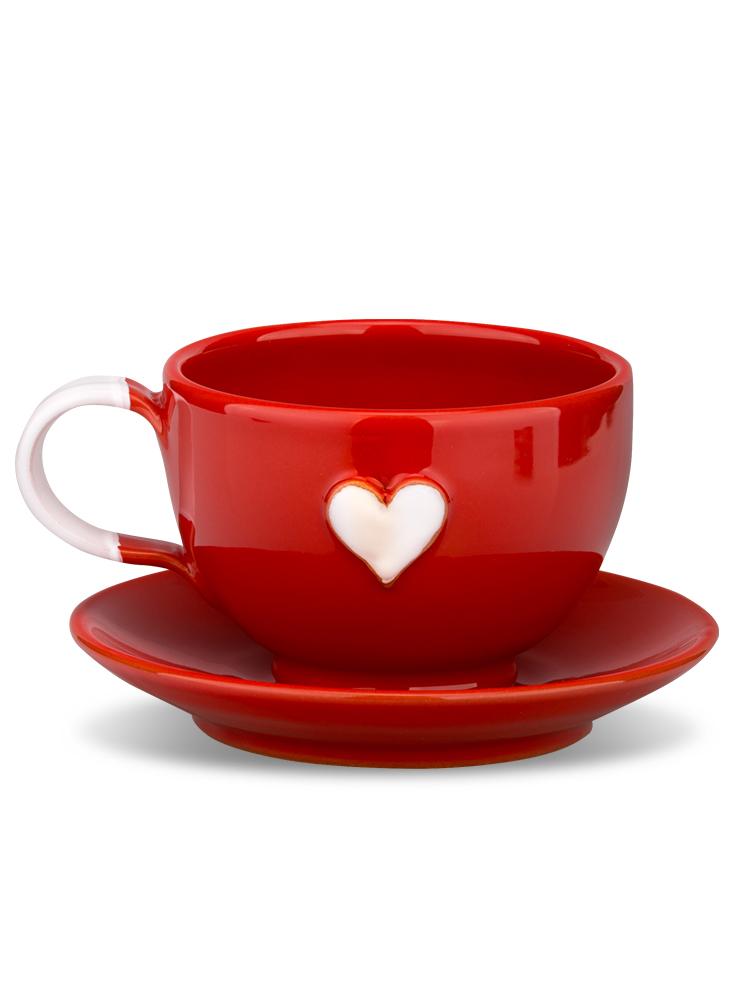 Šálka s tanierikom mini červená srdce biele