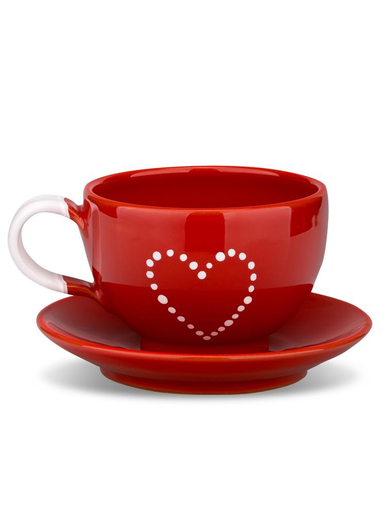 Šálka s tanierikom mini červená srdce bodky