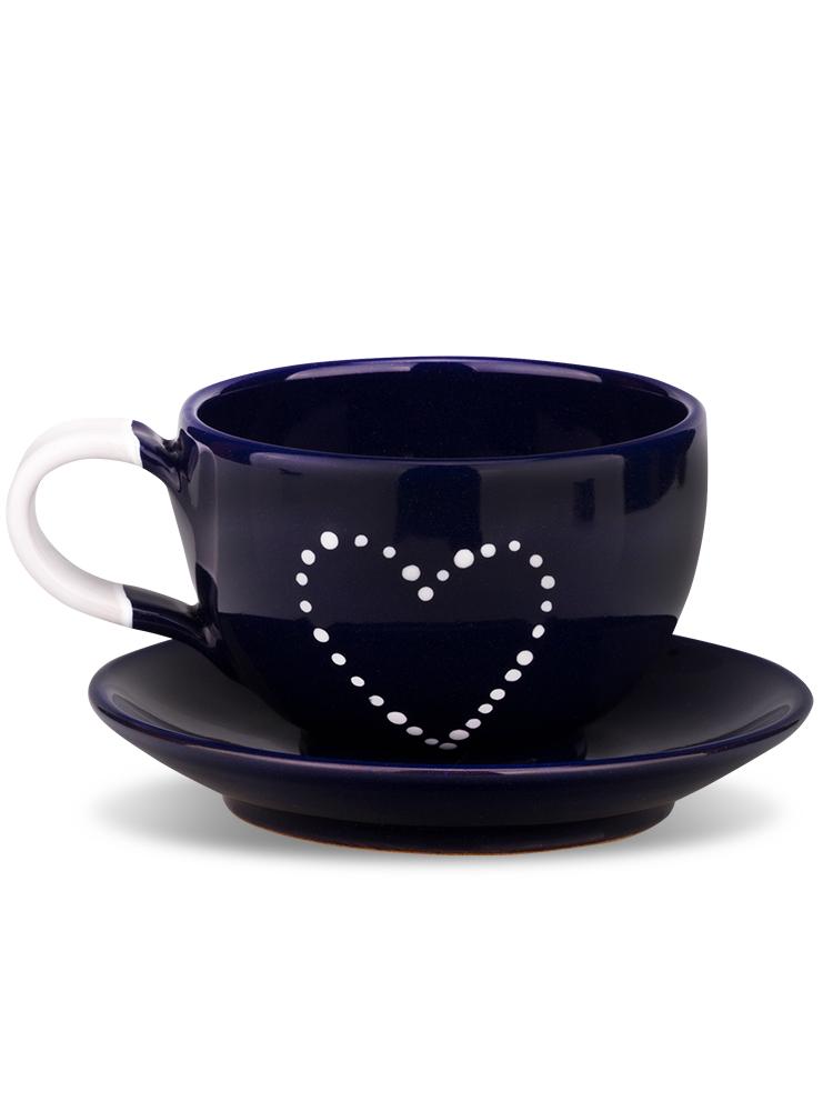 Šálka s tanierikom mini modrá srdce bodkované