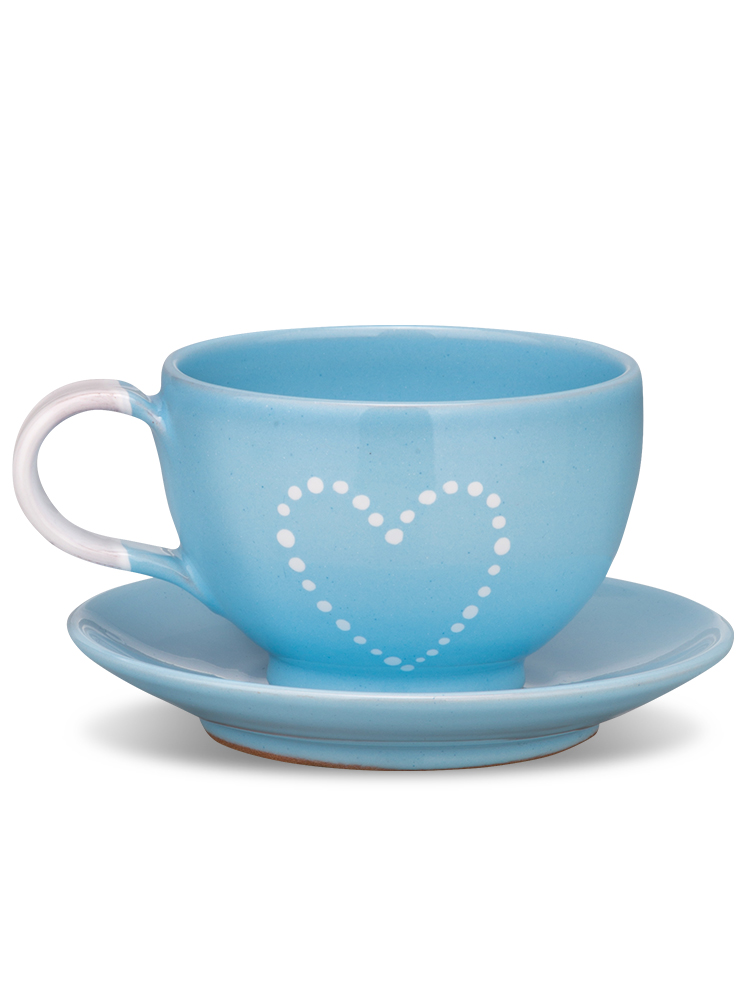 Šálka s tanierikom mini nebeská srdce bodky