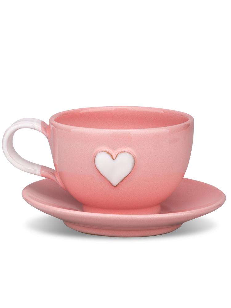 Šáločka s tanierikom mini ružová srdce biele