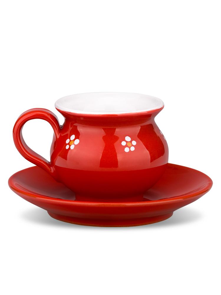 Šáločka s tanierikom mini červená