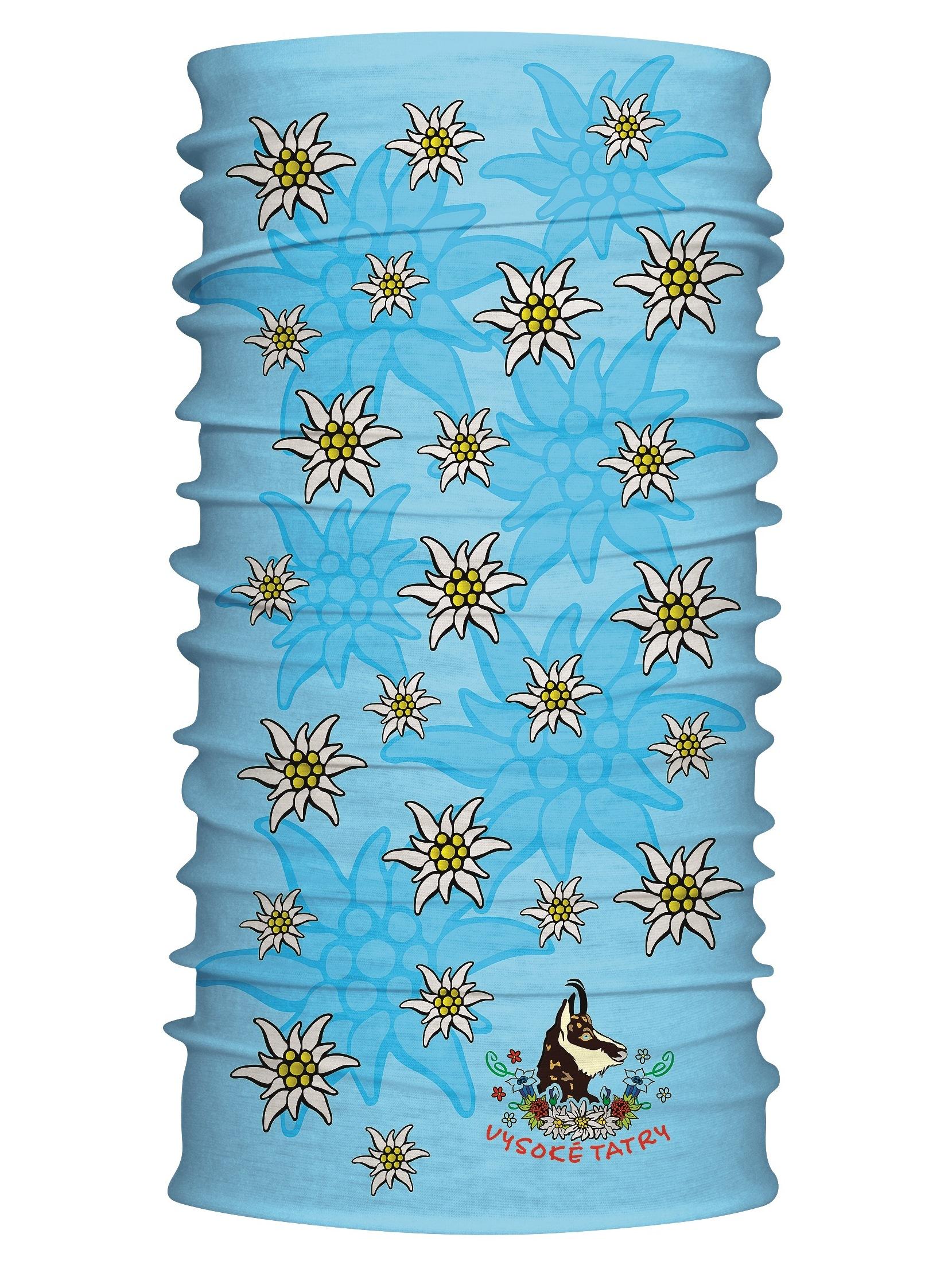 Multifunkčný šál Vysoké Tatry kamzík modrá 7114