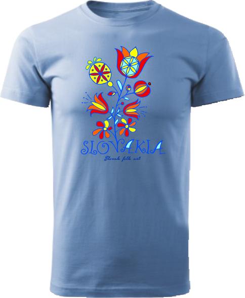 Tričko Slovakia kvet Unisex Svetlomodré