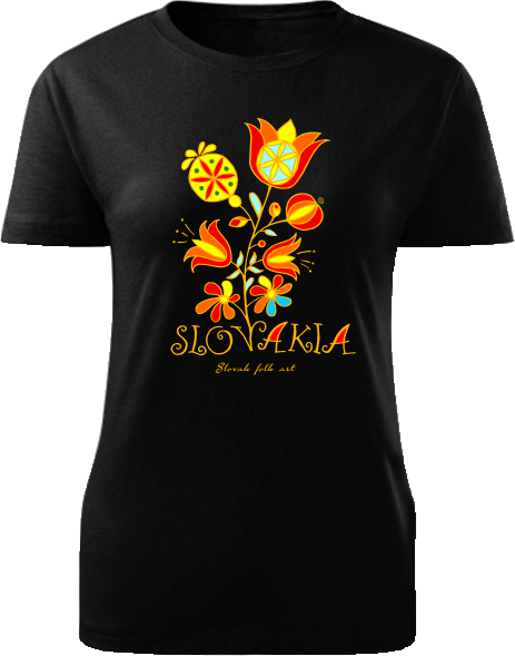 Tričko Slovakia kvet Dámske klasik Čierne
