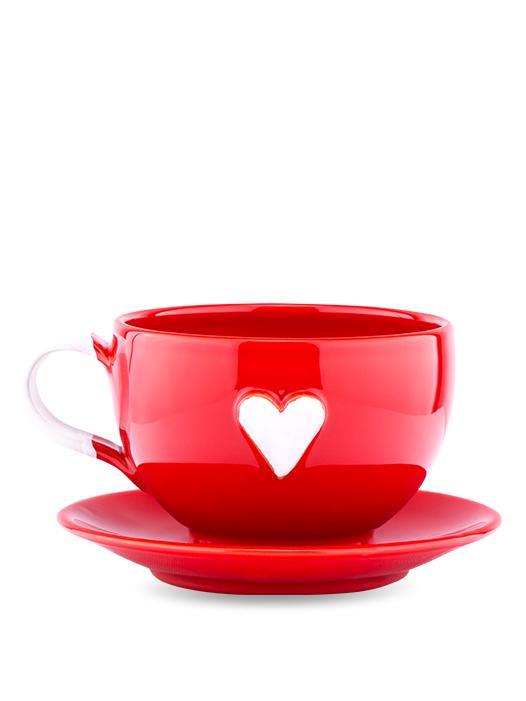 Šálka s tanierikom červená srdce biele