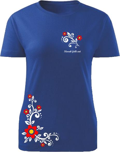 Tričko Slovak folk art kvetinová liana Dámske klasik Kráľovské modré