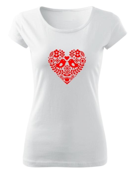 Tričko folklórne srdce červené Pure Biele