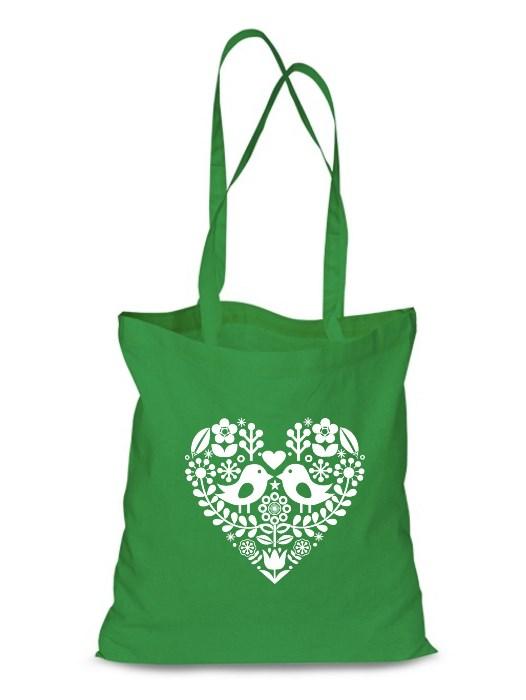Plátená EKOlogická taška folklórne srdce - dlhá rúčka Zelená