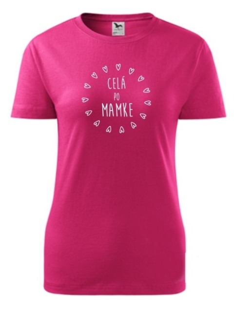 Tričko celá po mamke Dámske klasik Rúžové