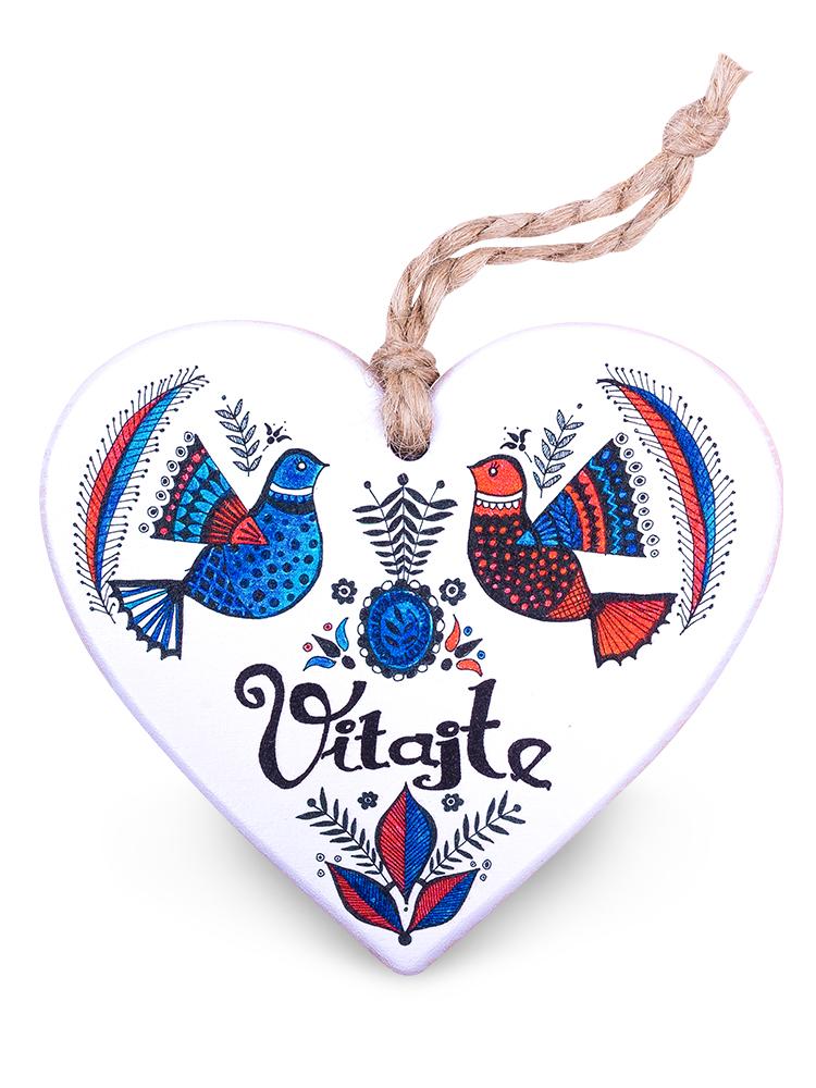 Drevené srdce vitajte - holubice