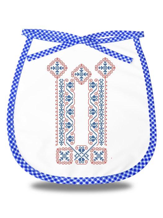 Detský podbradník folklórna výšivka 01 Modrý