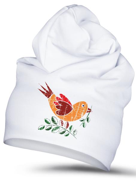 Folklórna čiapka vrabec 1 retro Biela