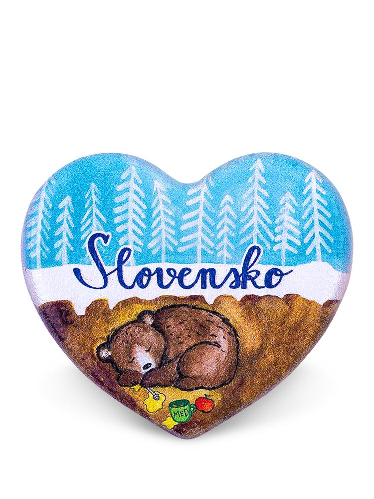 Drevená magnetka Slovensko - medveď