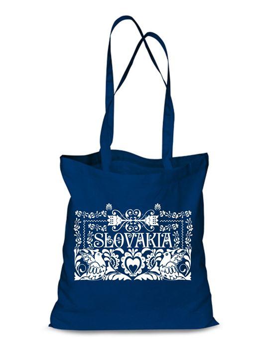 Plátená EKOlogická taška ľudový ornament - dlhá rúčka Modrá