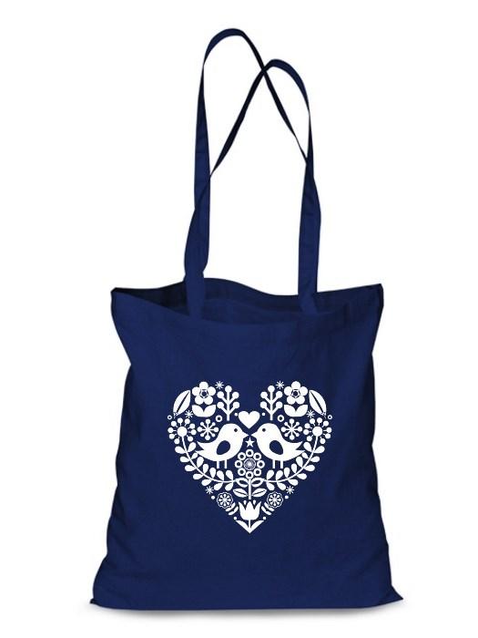 Plátená EKOlogická taška folklórne srdce - dlhá rúčka  Modrá