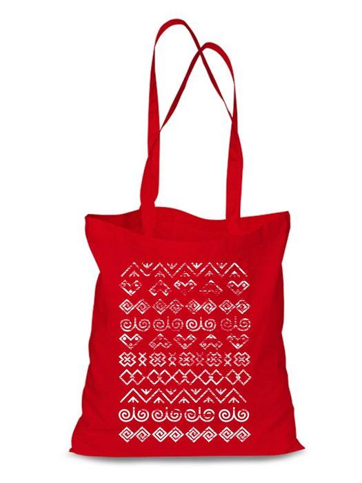 Plátená EKOlogická taška Čičmany retro - dlhá rúčka Červená