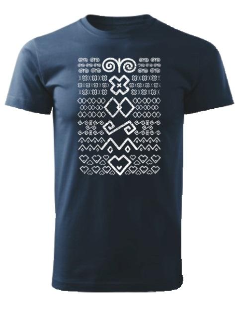 Tričko čičmany znaky retro Unisex Námornícke modré