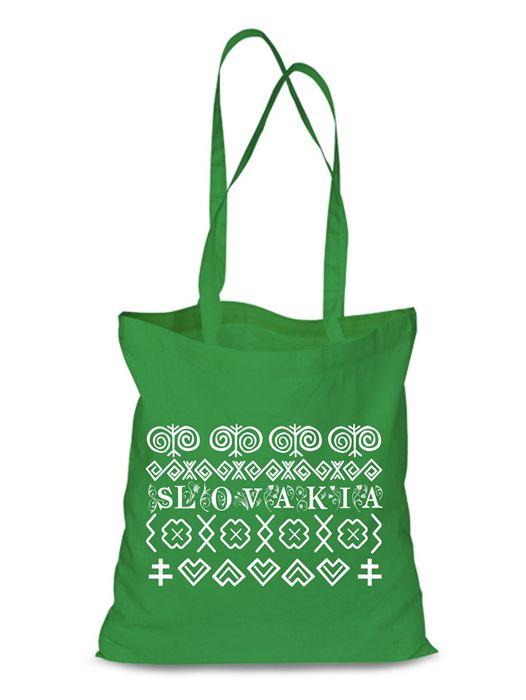 Plátená EKOlogická taška Čičmany - dlhá rúčka Zelená