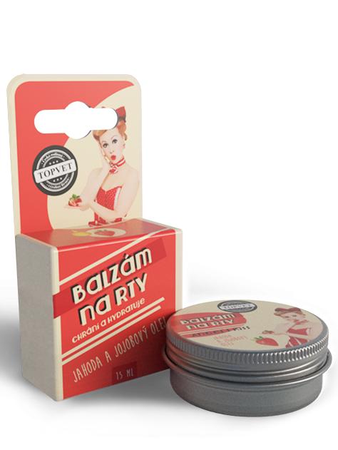 Topvet Balzam na pery - Jahoda a jojobový olej 15ml