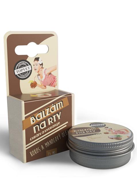 Topvet Balzam na pery - Kokos a mandľový olej 15ml