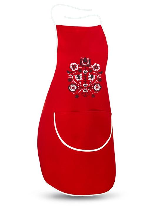 Ľudová zástera kytica retro Červená