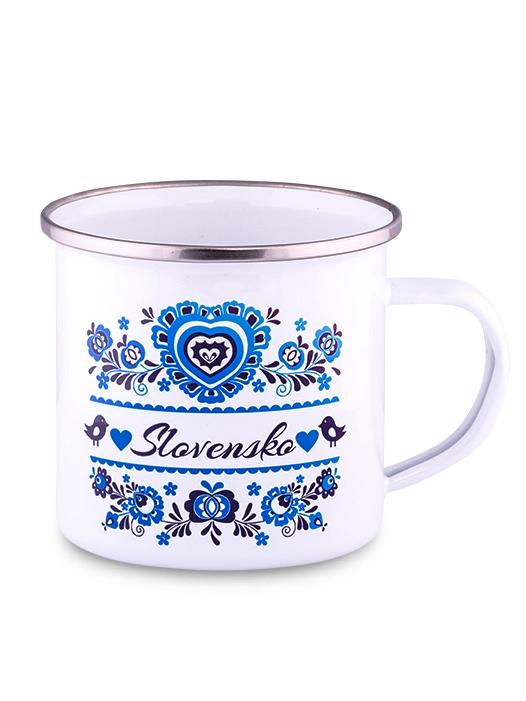 Plechový hrnček modrý ornament 300ml