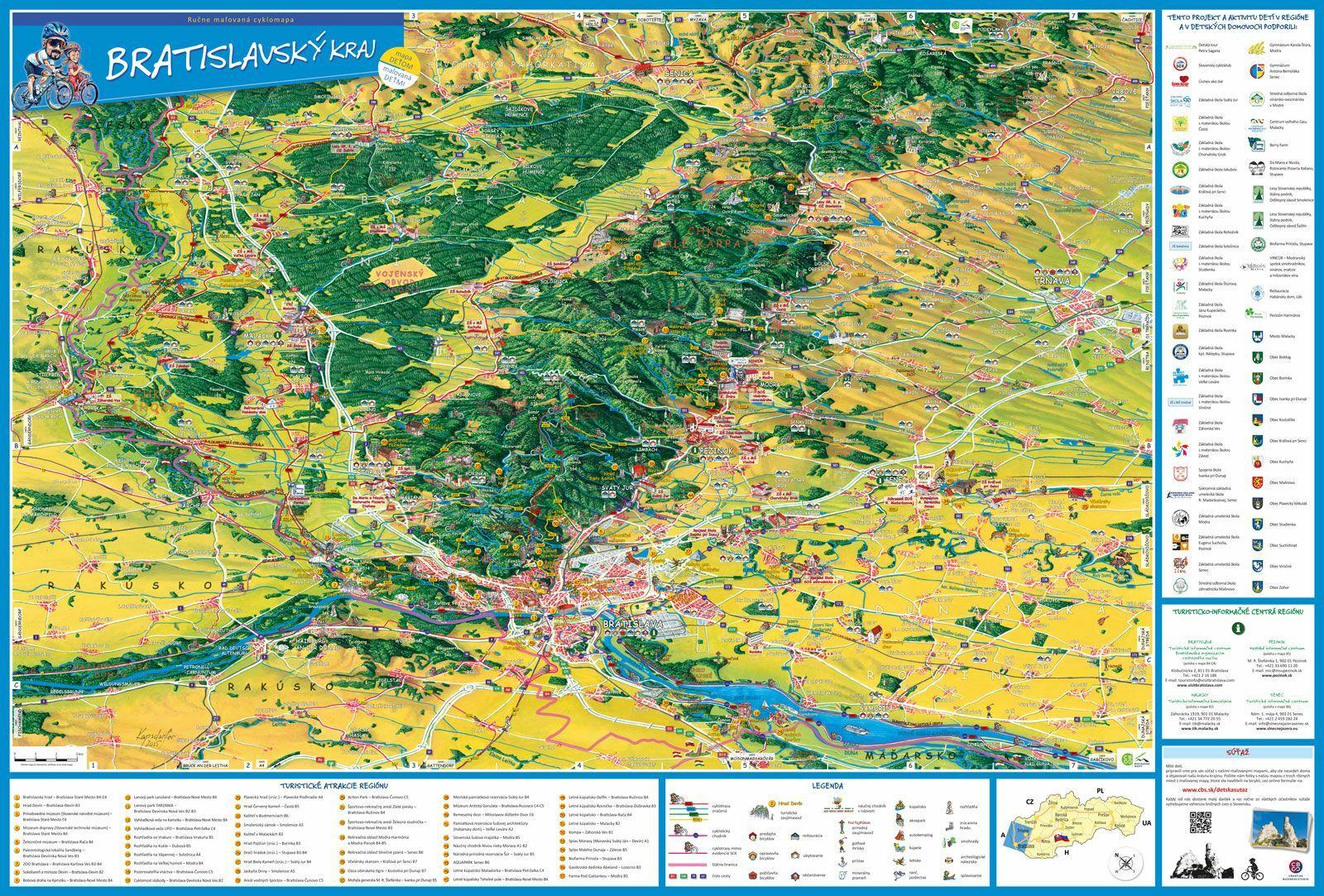 Bratislavský kraj Ručne maľovaná cyklomapa