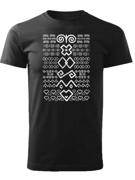 Tričko Čičmany znaky retro Unisex Čierne