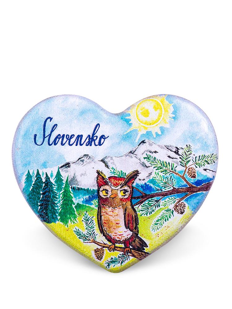 Drevená magnetka Slovensko - sova
