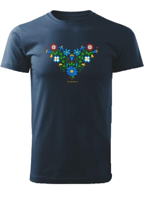 Tričko Slovak folk art lúčne kvety Unisex Námornícke modré