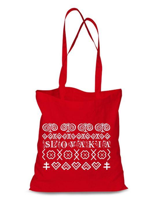 Plátená EKOlogická taška Čičmany - dlhá rúčka Červená
