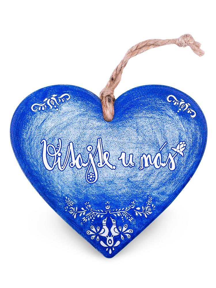 Drevené srdce vitajte - folk modrá