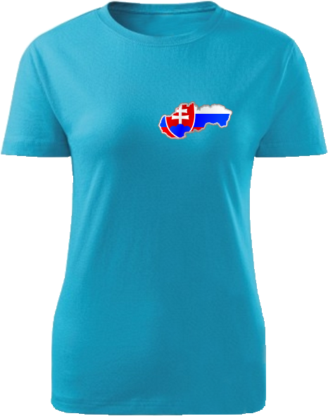 Tričko Slovenská republika Dámske klasik Tyrkysová