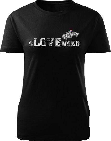 Tričko love Slovensko Dámske klasik Čierne