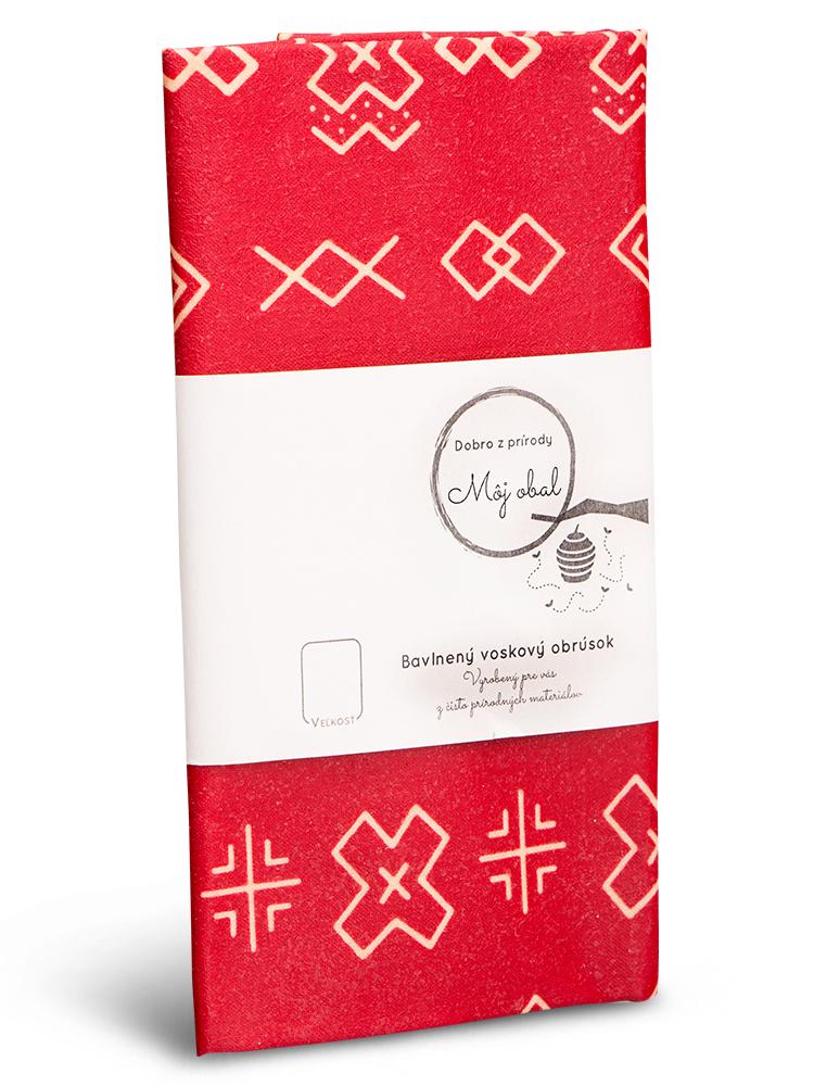 Voskovaný obrúsok bavlna čičmany červený L 35x35cm
