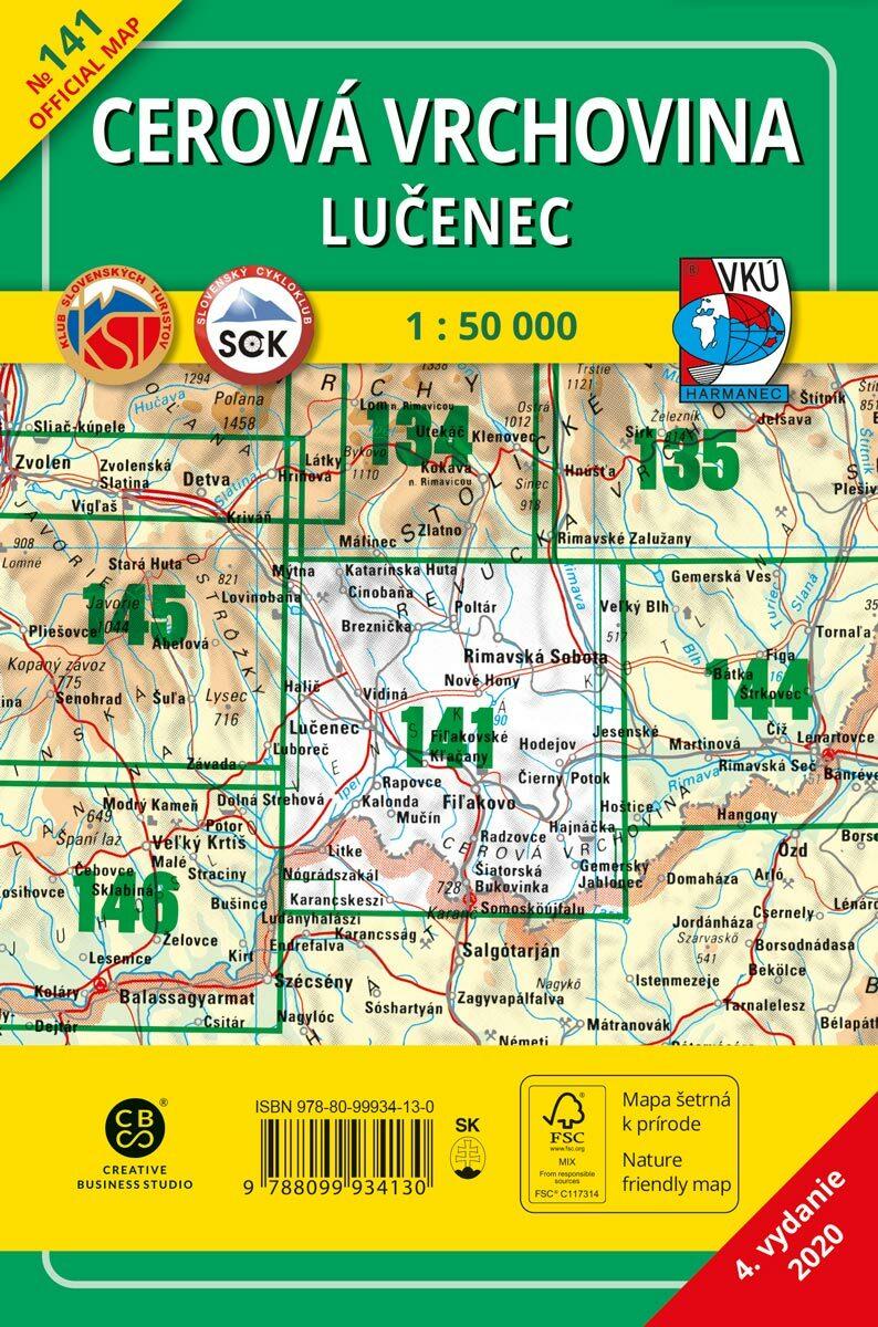 Cerová vrchovina 141 Turistická mapa 1:50 000
