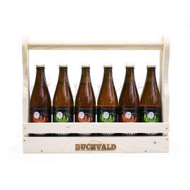 Drevený nosič piva + 6 pivo Buchvald 12%