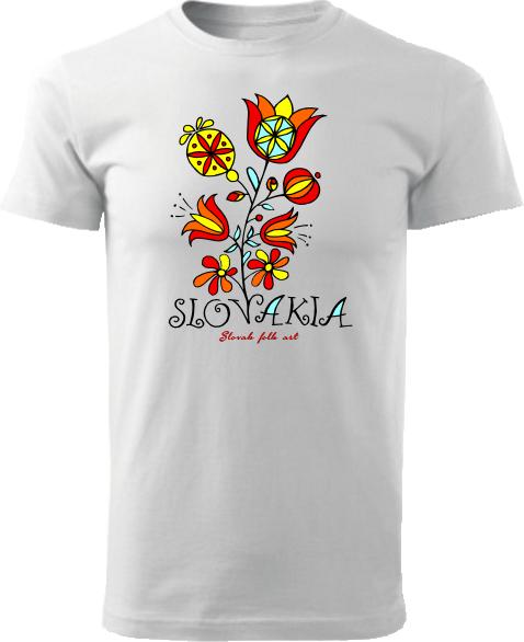 Tričko Slovakia kvet Unisex Biele