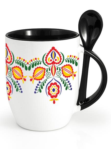 Ľudový pohár kvety 1 Čierny